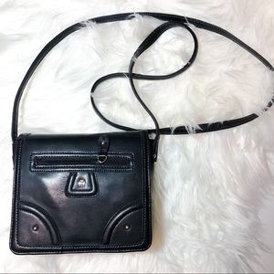 Etienne Aigner Black Faux Leather Crossbody
